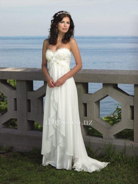 3307c8bdaa White A-line Short Beach Wedding Dress with Cap Sleeves - idress.co.nz